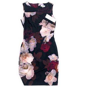 Calvin Klein Black Floral Dress NWT 4P